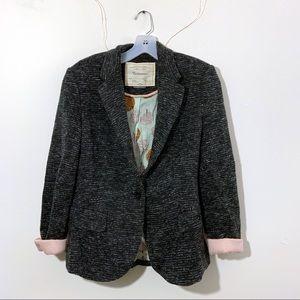 Anthro Cartonnier Marled Cotton Blazer in Grey